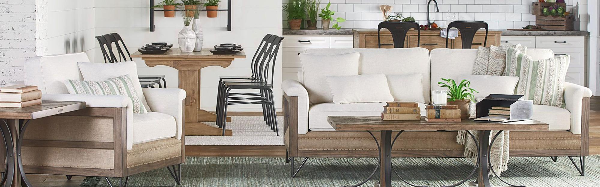 Magnolia Home Living Room | Living Spaces In Magnolia Home Dapper Fog Sofa Chairs (Image 13 of 25)