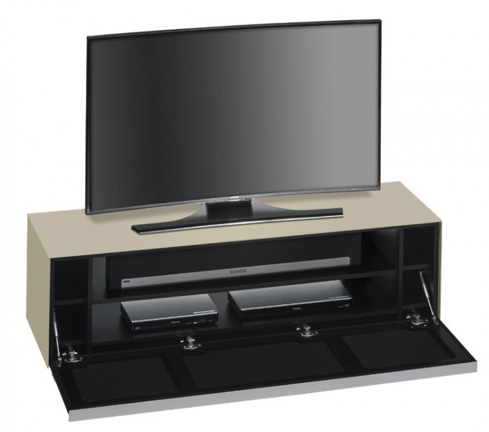 Maja Sound Concept 7736 2373 Sand Matt Glass Tv Stand With Black In Most Recent Glass Front Tv Stands (View 10 of 25)