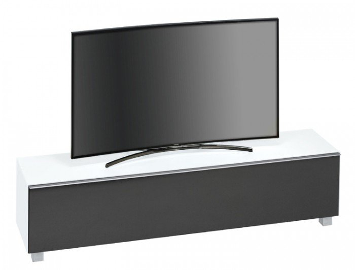 Maja Sound Concept 7738 3673 Matt White Glass Tv Stand With Black Pertaining To 2017 Glass Front Tv Stands (Image 13 of 25)