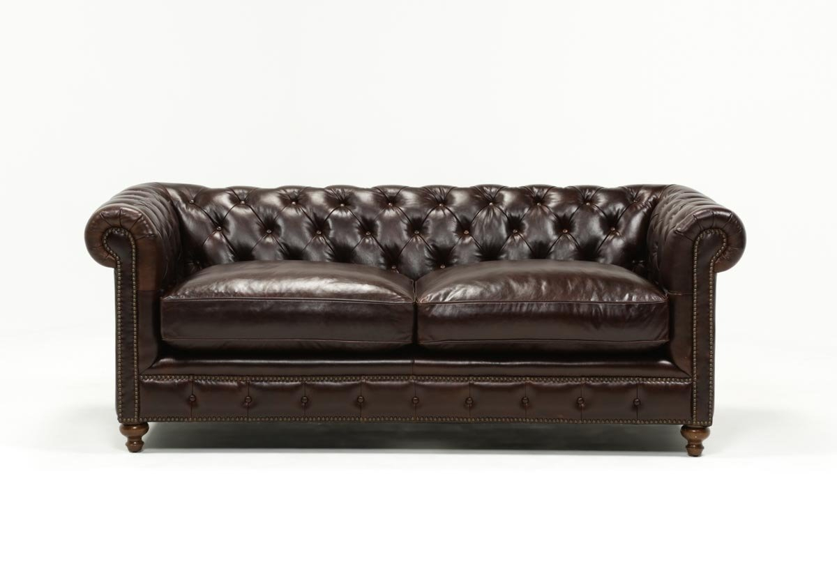 Mansfield 86 Inch Cocoa Leather Sofa | Living Spaces In Mansfield Beige Linen Sofa Chairs (Image 10 of 25)