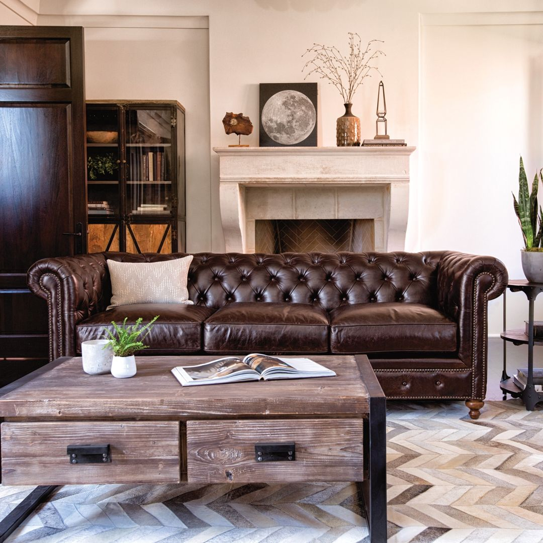 Mansfield 96 Inch Cocoa Leather Sofa In 2018 | Living Rooms With Regard To Mansfield Cocoa Leather Sofa Chairs (Image 14 of 25)