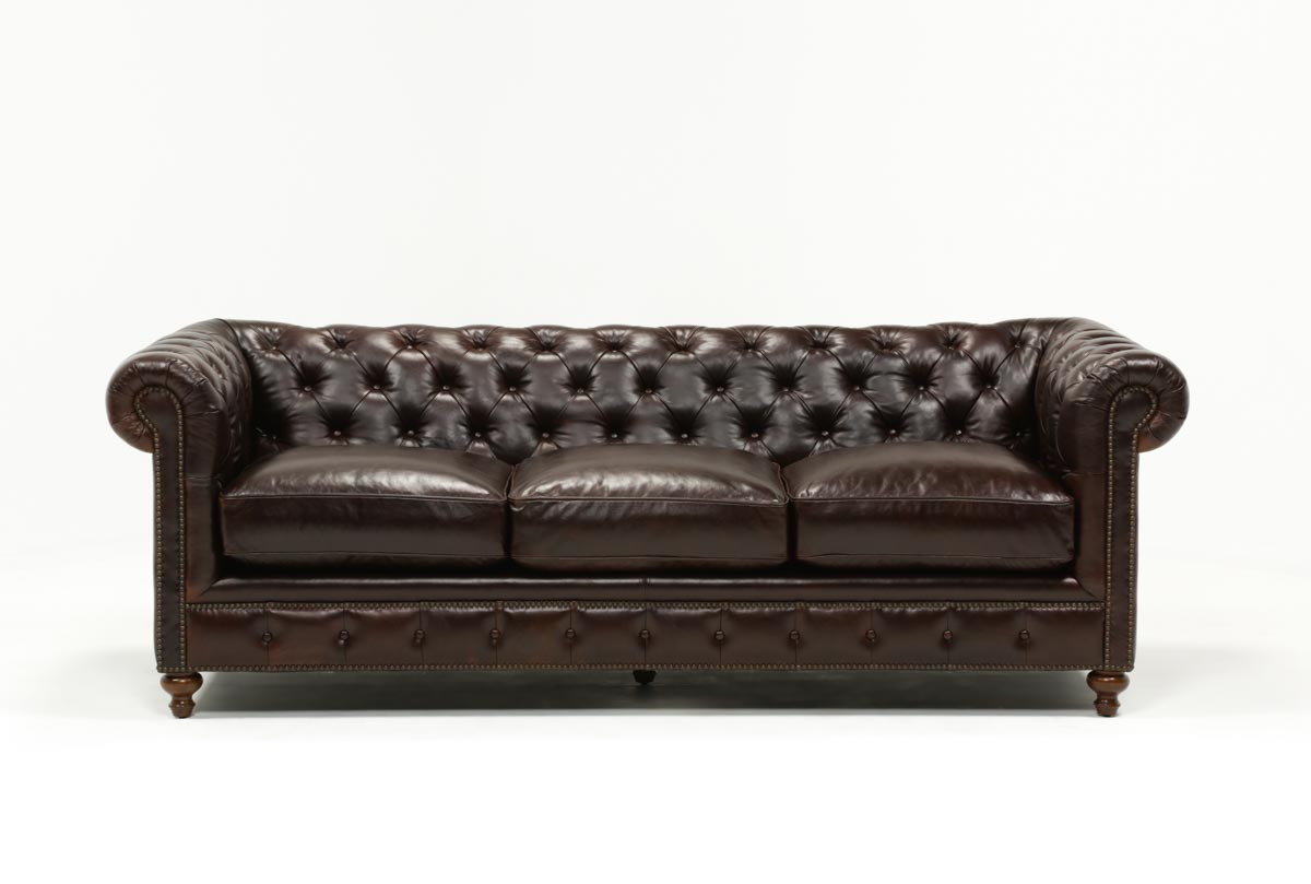 Mansfield 96 Inch Cocoa Leather Sofa | Living Spaces Within Gina Grey Leather Sofa Chairs (Image 18 of 25)