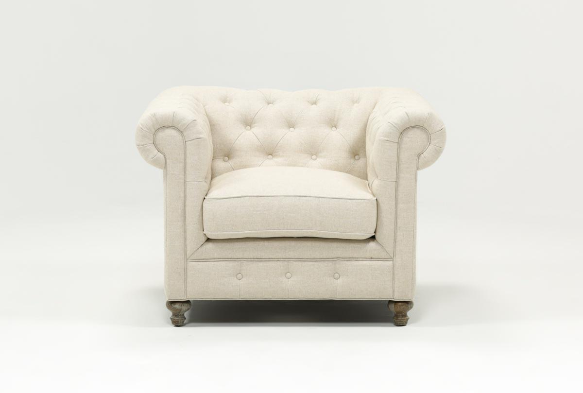 Mansfield Beige Linen Chair | Living Spaces With Regard To Mansfield Beige Linen Sofa Chairs (Image 12 of 25)