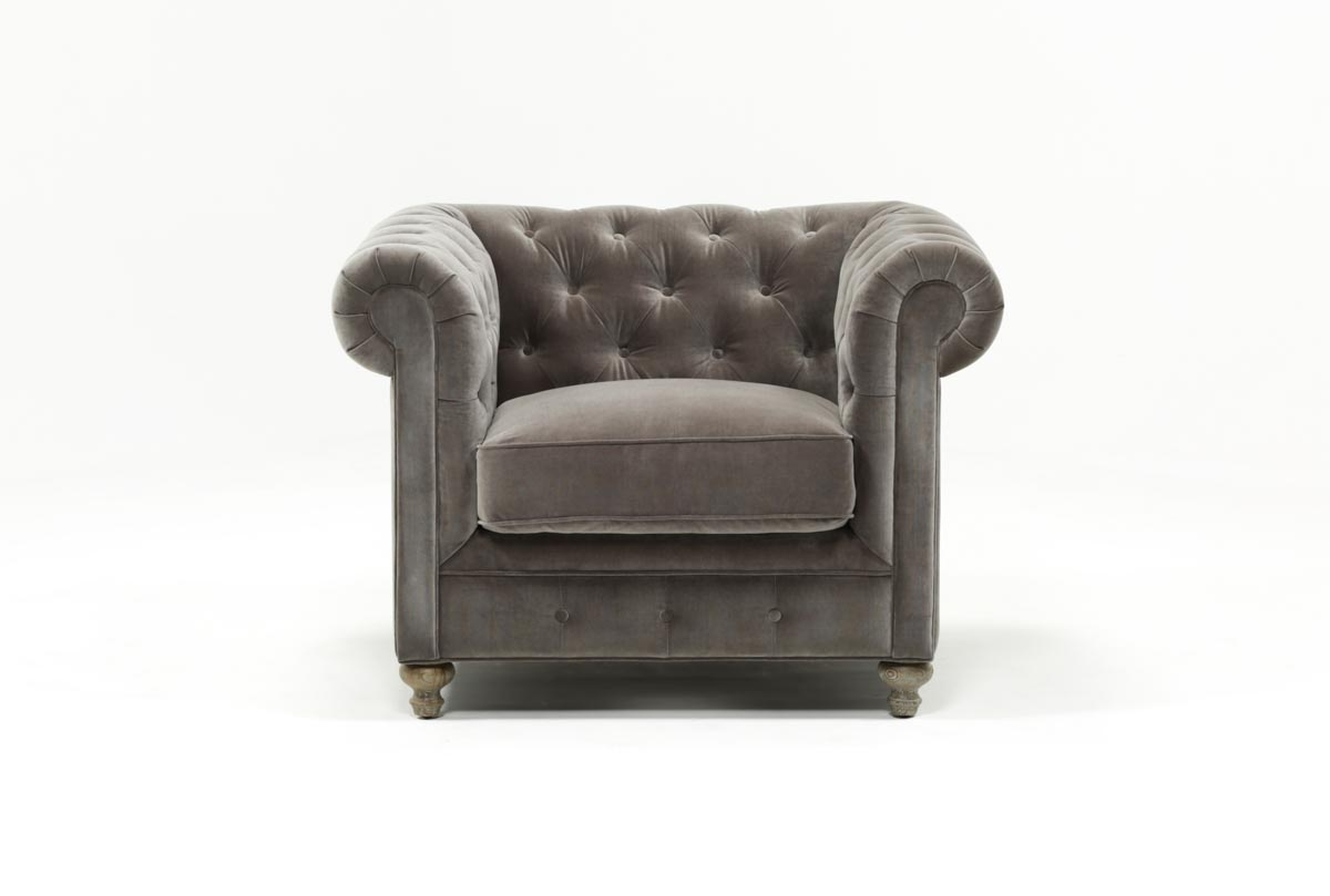 Mansfield Graphite Velvet Chair | Living Spaces Pertaining To Mansfield Graphite Velvet Sofa Chairs (Image 13 of 25)