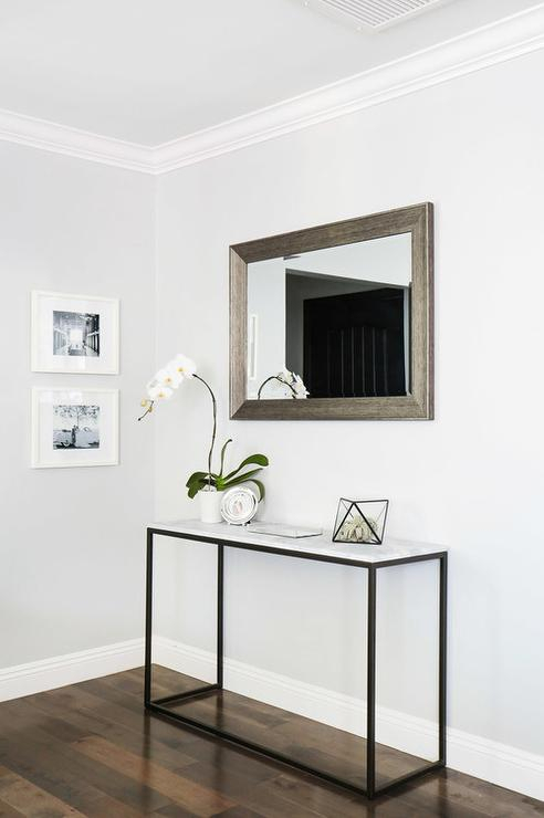 Marble Frame Console Table With Beveled Mirror – Transitional Inside Current Frame Console Tables (View 13 of 25)