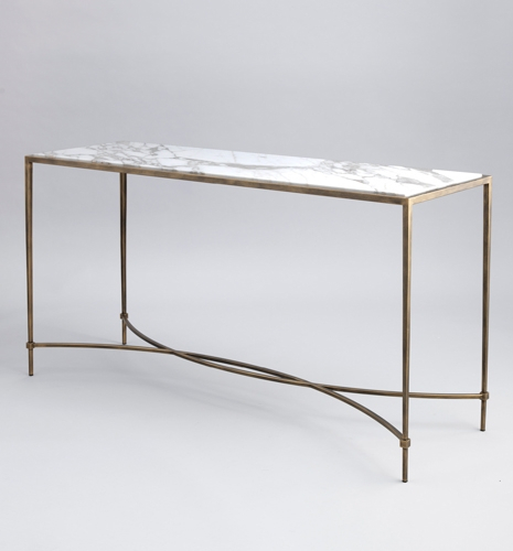 Marble Top Console Table Linden Industrial Iron And Marble Top Throughout Current Parsons Black Marble Top & Stainless Steel Base 48X16 Console Tables (View 21 of 25)