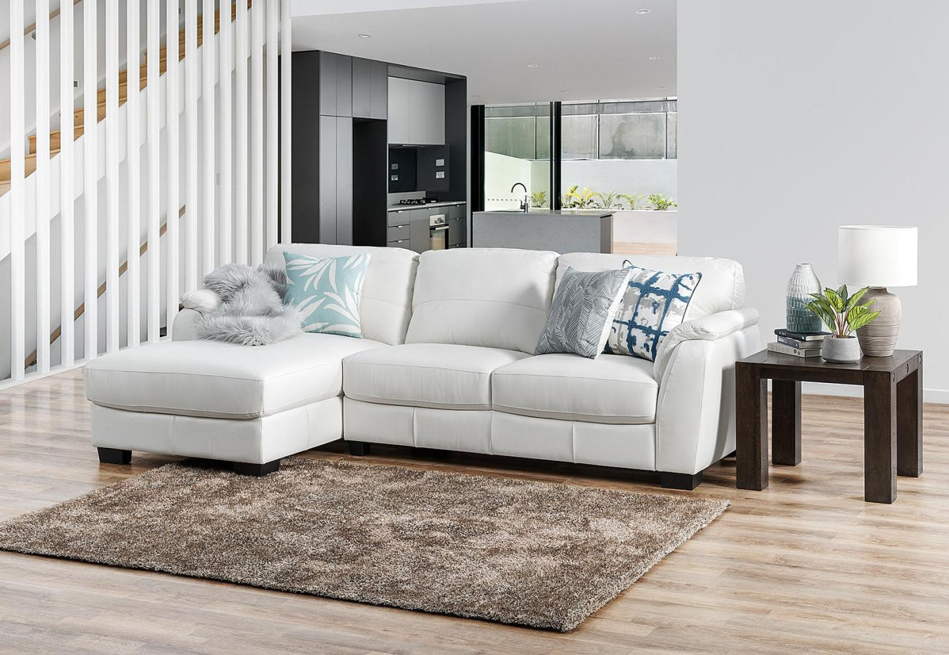 Marissa Leather 3 Seater Chaise White – Sofas, Lounges & Couches Inside Marissa Sofa Chairs (Image 13 of 25)