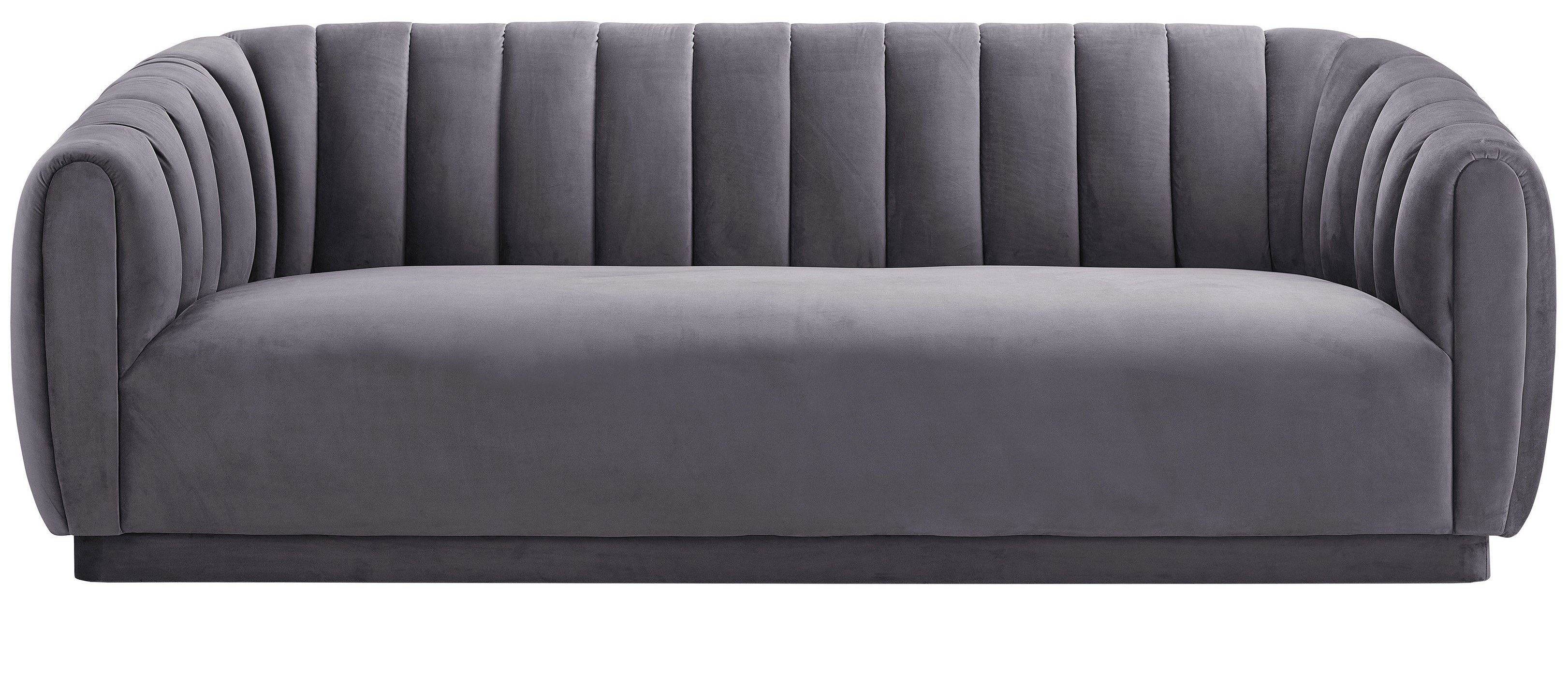 Marissa Velvet Sofa, Gray With Regard To Marissa Sofa Chairs (Image 21 of 25)