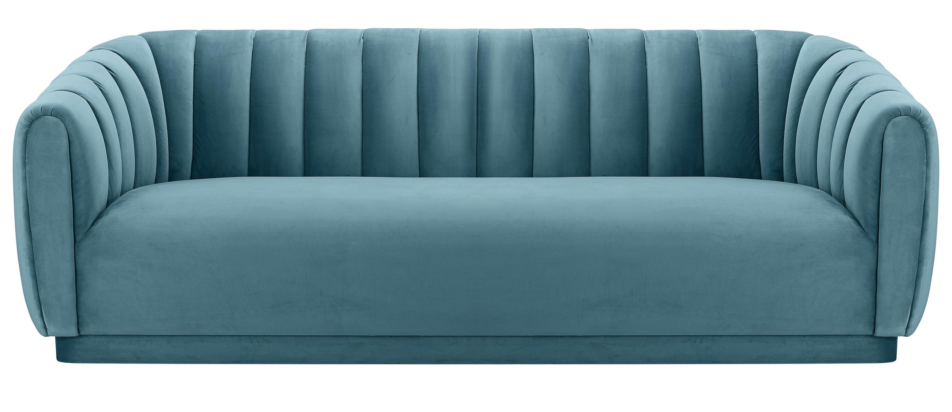 Marissa Velvet Sofa, Sea Blue Pertaining To Marissa Sofa Chairs (View 9 of 25)