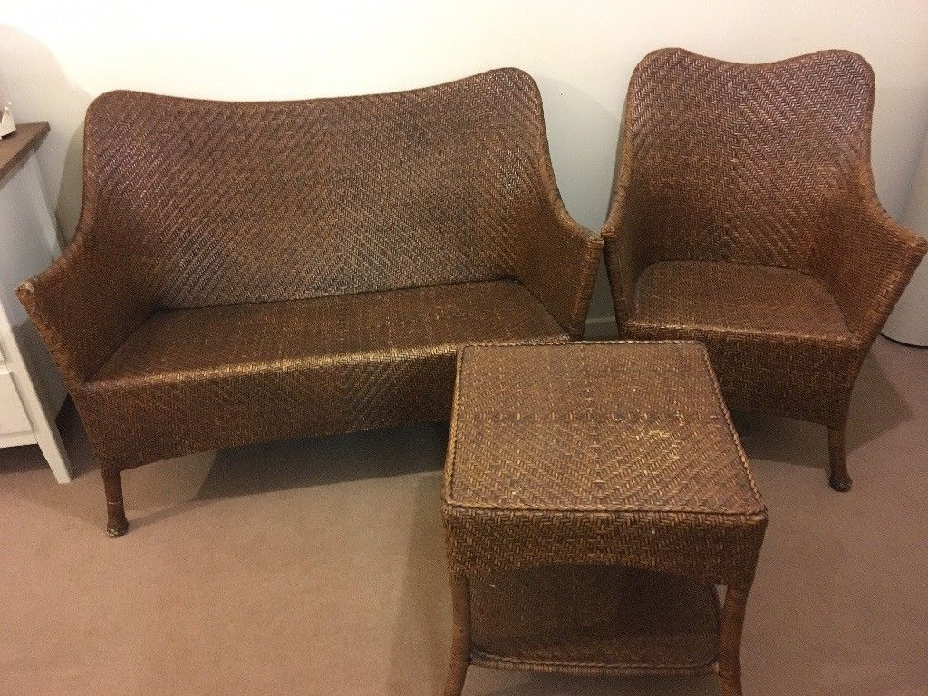 Marks And Spencer's Sofa, Chair And Table Herringbone Wicker (Image 19 of 25)