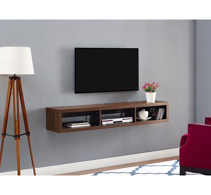 Martin Home Furnishings Shallow Wall Mounted Tv Stand For Tvs Up To Intended For Most Popular Wall Mounted Tv Racks (Image 14 of 25)