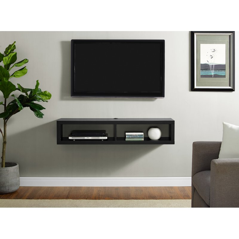 Martin Home Furnishings Shallow Wall Mounted Tv Stand For Tvs Up To Regarding 2017 Wall Mounted Tv Racks (View 17 of 25)