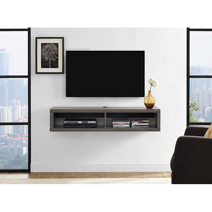 Martin Home Furnishings Shallow Wall Mounted Tv Stand For Tvs Up To Regarding Recent Wall Mounted Tv Racks (Image 16 of 25)