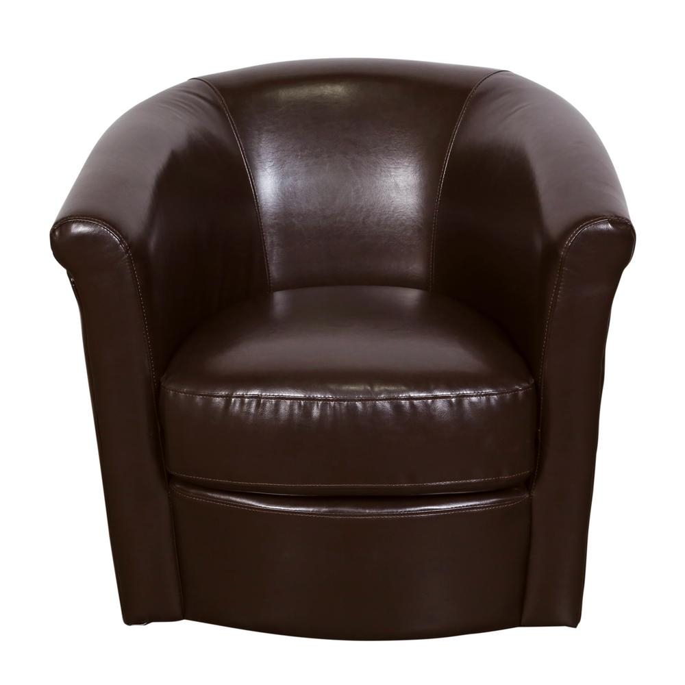 Marvel Chocolate Contemporary Leather Look Swivel Accent Chair 01 With Chocolate Brown Leather Tufted Swivel Chairs (View 13 of 25)