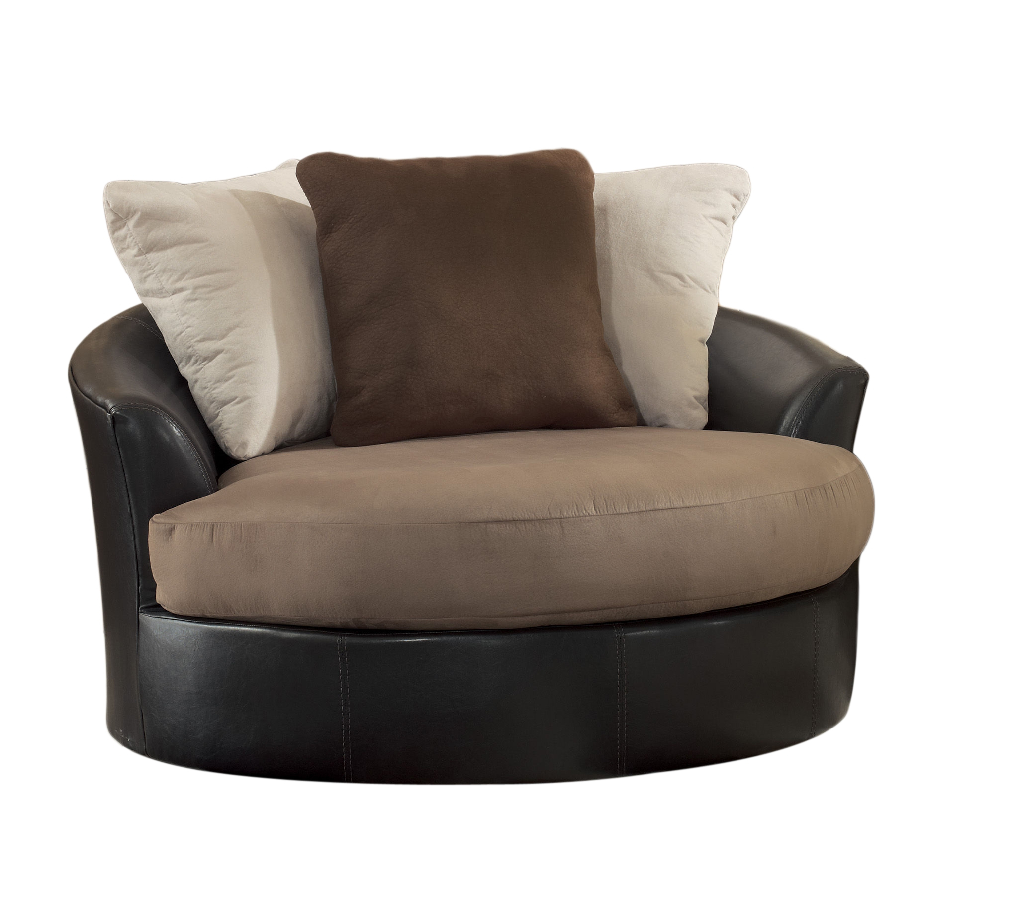 Masoli Mocha Faux Leather Fabric Oversized Swivel Accent Chair | The Intended For Loft Black Swivel Accent Chairs (View 11 of 25)