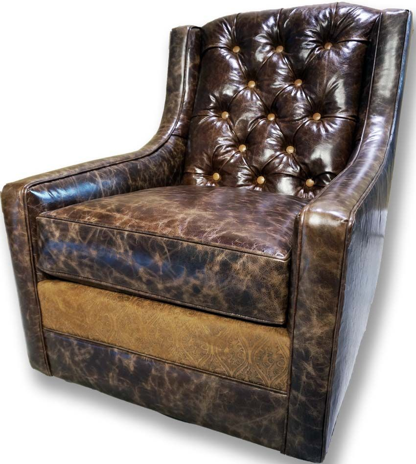 Medina Tufted Swivel Glider Western Accent Chairs – Distressed Regarding Chocolate Brown Leather Tufted Swivel Chairs (View 6 of 25)