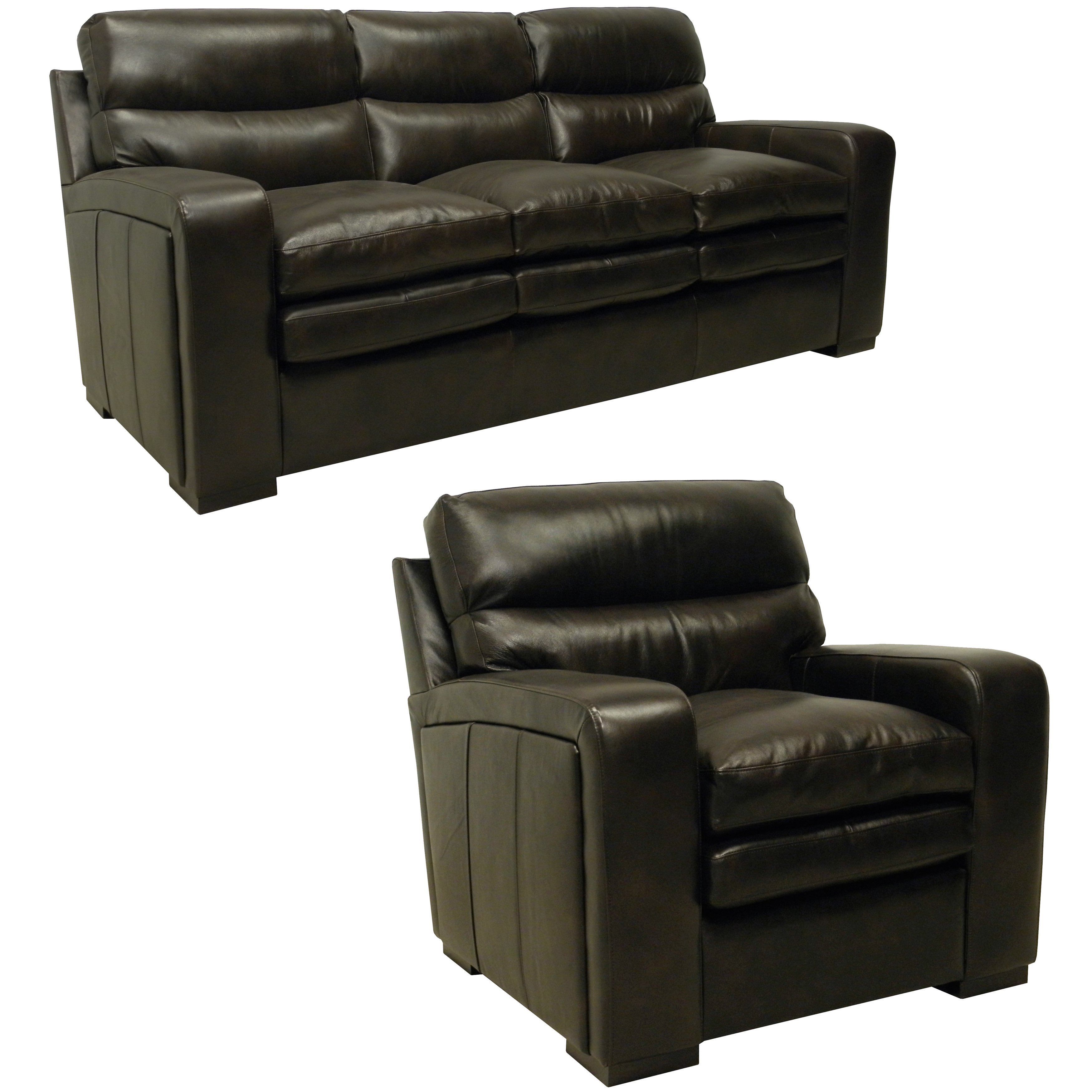 Mercer Dark Brown Italian Leather Sofa And Leather Chair – Free Intended For Mercer Foam Oversized Sofa Chairs (Image 5 of 25)