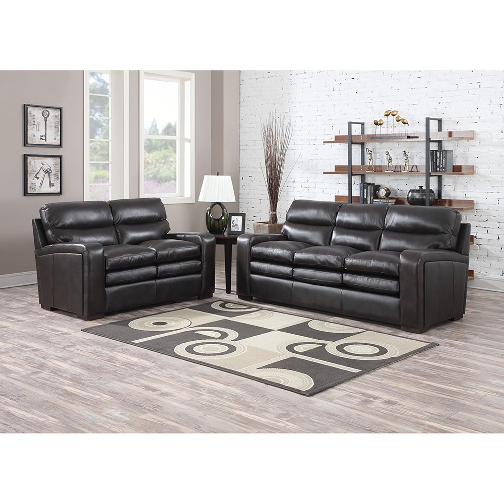 Mercer Dark Brown Italian Leather Sofa And Leather Loveseat – Free Throughout Mercer Foam Oversized Sofa Chairs (Image 6 of 25)