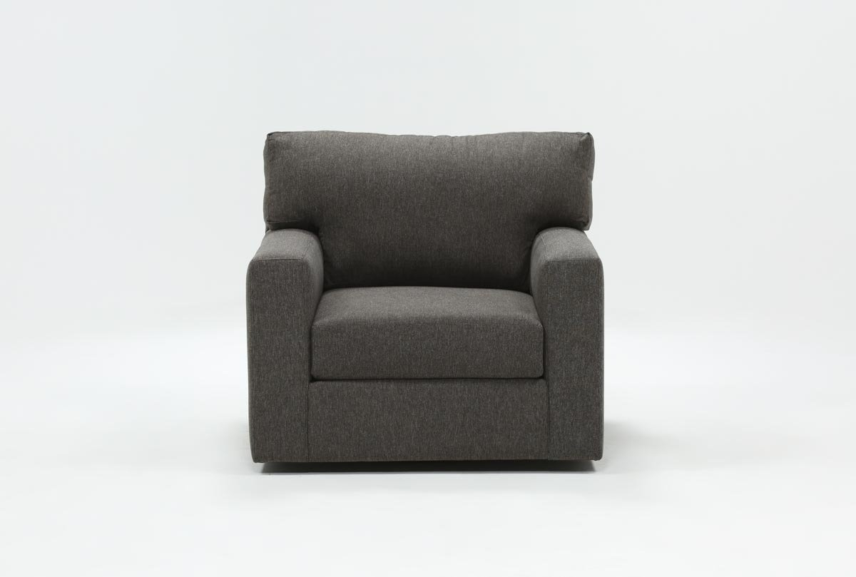 Mercer Foam Swivel Chair | Living Spaces Pertaining To Amala White Leather Reclining Swivel Chairs (View 14 of 25)