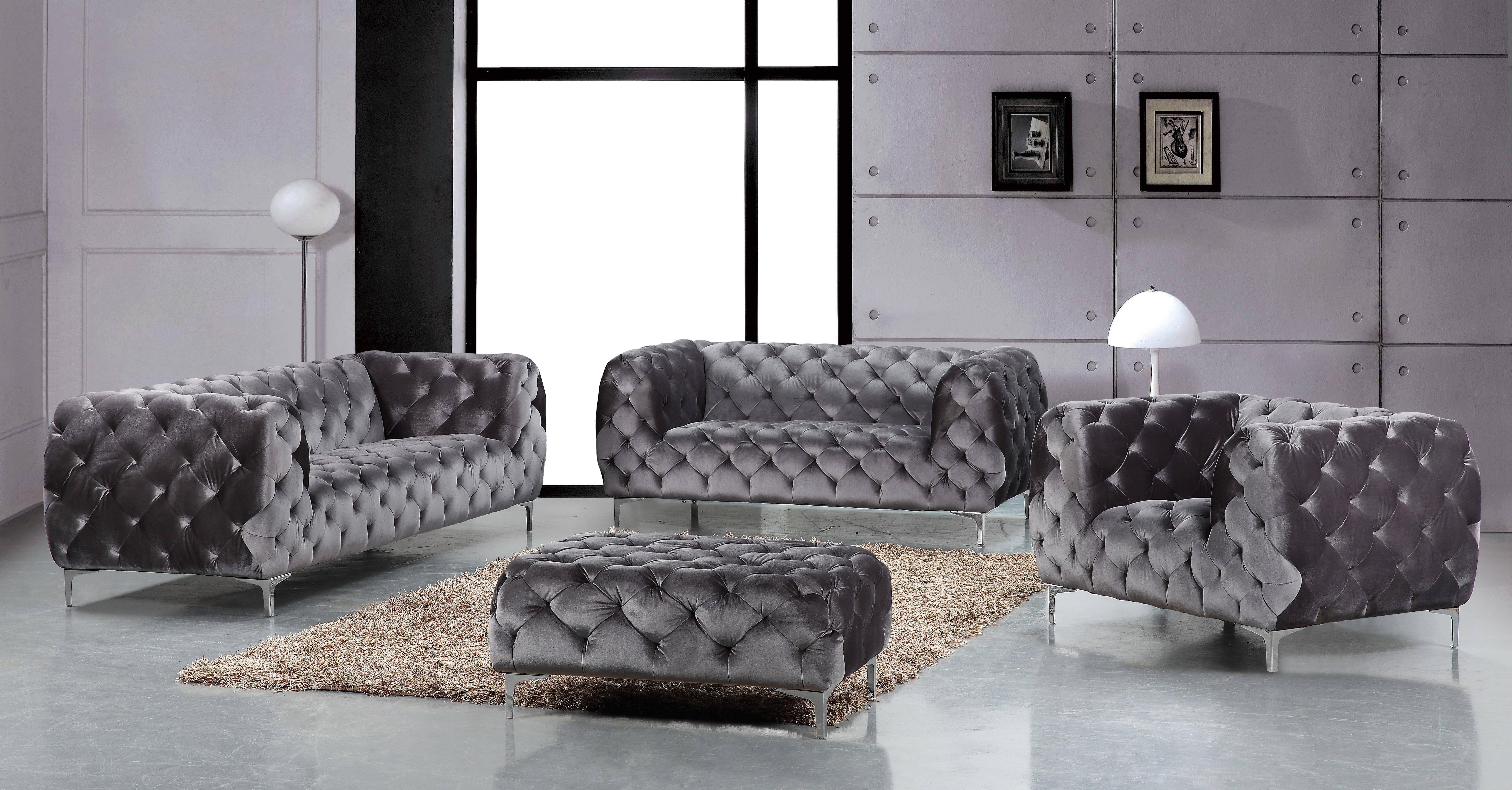 Meridian 646 Mercer Grey Tufted Sofa Set 3Pcs Contemporary Modern Inside Mercer Foam Oversized Sofa Chairs (Image 13 of 25)