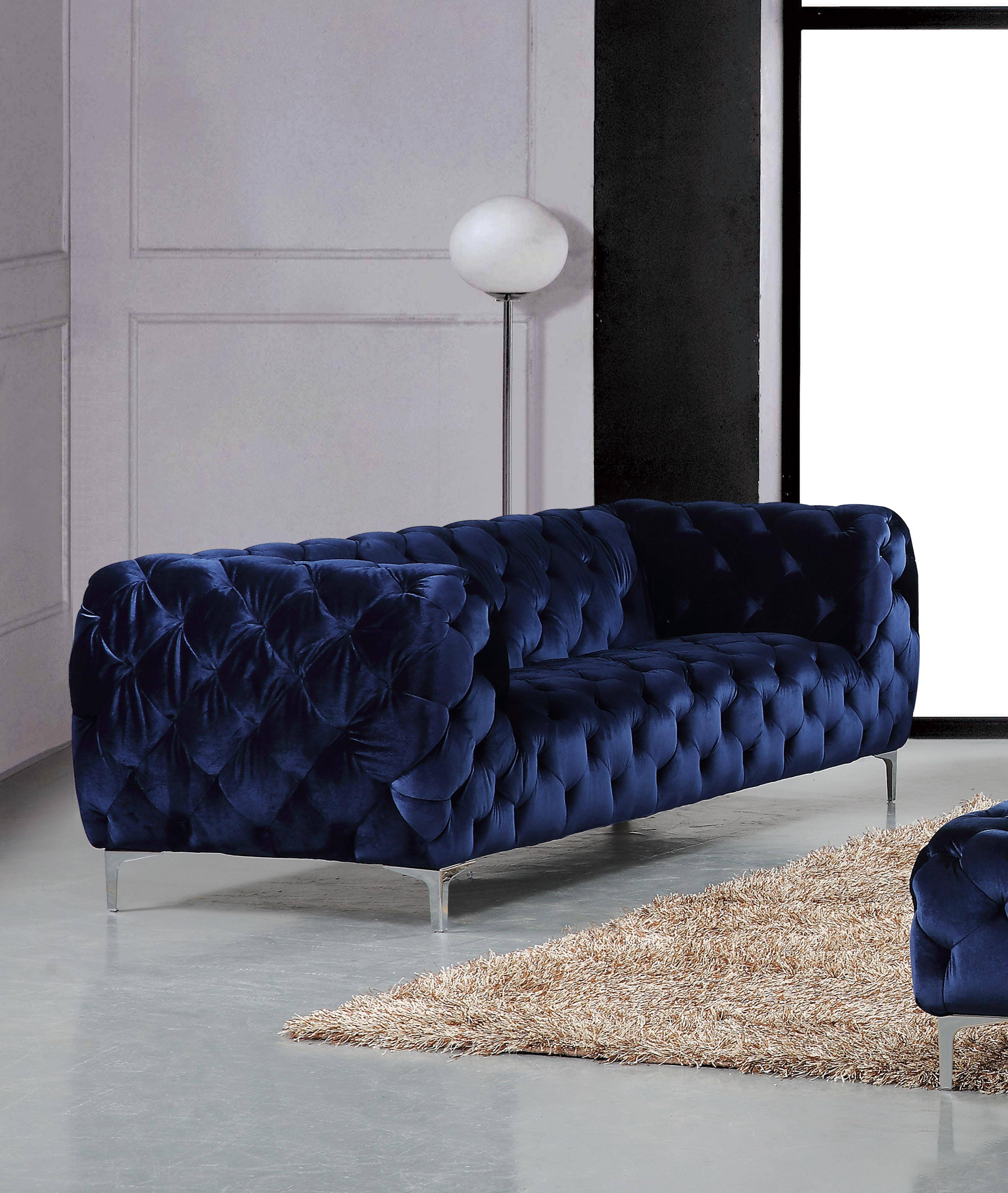 Meridian 646 Mercer Navy Tufted Sofa Contemporary Modern (646 Mercer Pertaining To Mercer Foam Oversized Sofa Chairs (View 17 of 25)