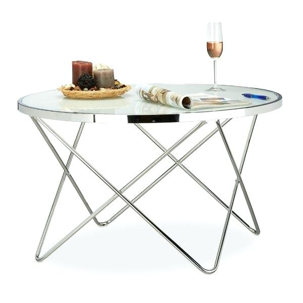 Metal Glass Side Table Two Tier Round Two Tier Round Quatre Twig With Regard To Newest Elke Glass Console Tables With Polished Aluminum Base (Image 13 of 25)