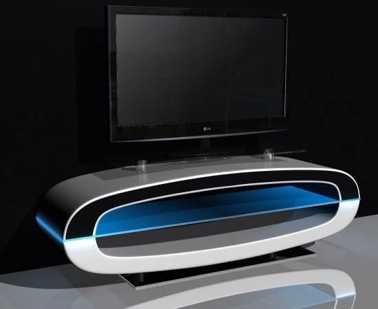 Michigan Tv Stand High Gloss White With Speakers And Usb Port With Regard To Preferred Oval White Tv Stand (Image 8 of 25)