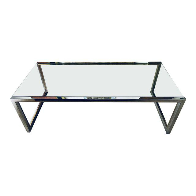 Mid Century Chrome And Glass Coffee Table Milo Baughman Era With Best And Newest Era Glass Console Tables (Image 10 of 25)