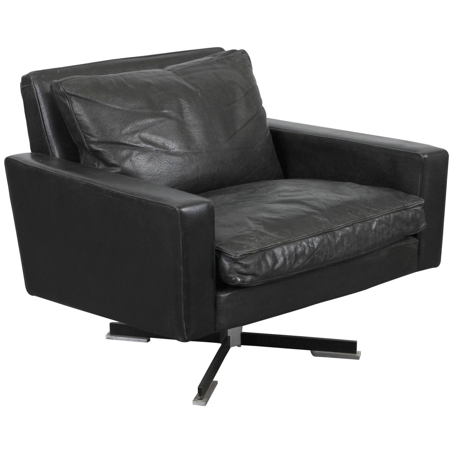 Mid Century Modern Black Leather Swivel Chair At 1Stdibs Throughout Leather Black Swivel Chairs (View 5 of 25)