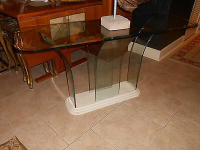 Mid Century Style, Milo Baughman Era, Waterfall Curved All Glass For Latest Era Glass Console Tables (View 10 of 25)