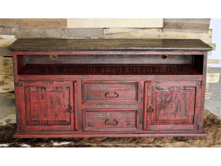 Million Dollar Rustic Bedroom Red Distressed Tv Stand $449 09 76 For Most Popular Rustic Furniture Tv Stands (Image 6 of 25)