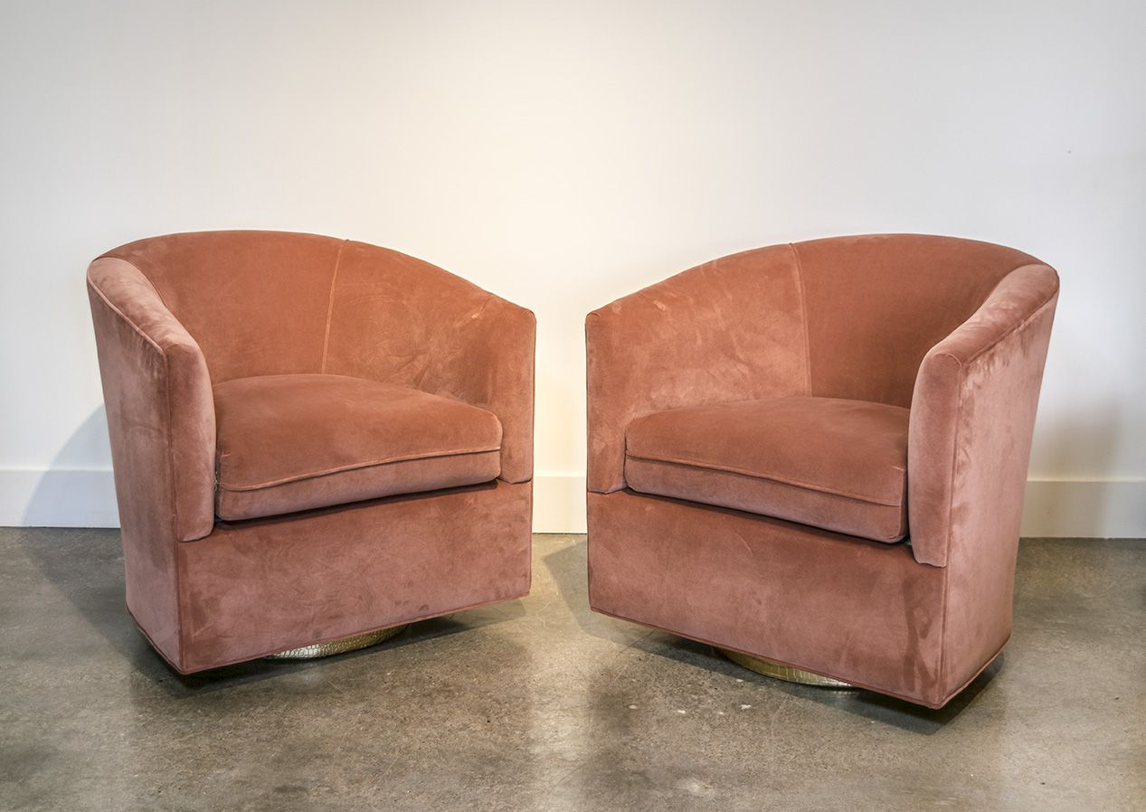 Milo Baughman Salmon Velvet Swivel Chairs With Gold Bases | Lynn With Bailey Roll Arm Skirted Swivel Gliders (Image 19 of 25)