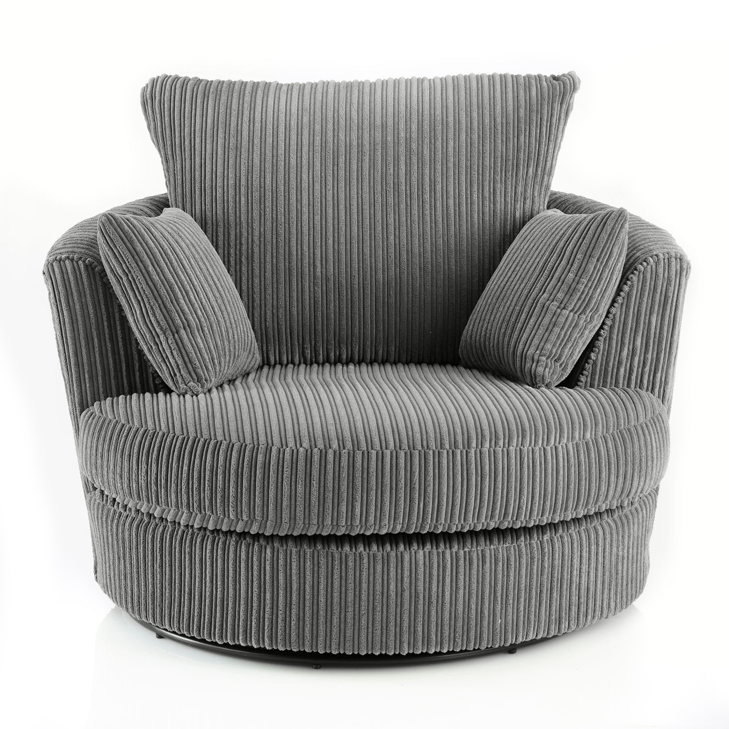 Miranda Swivel Cuddle Chair Fabric Leather Armchair Jumbo Cord Grey With Grey Swivel Chairs (View 13 of 25)