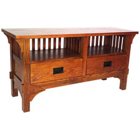 "Mission Style Oak Finish Entertainment Console $400 48""w X 24""h X 16 Inside Most Popular Preston 66 Inch Tv Stands (Image 13 of 25)"