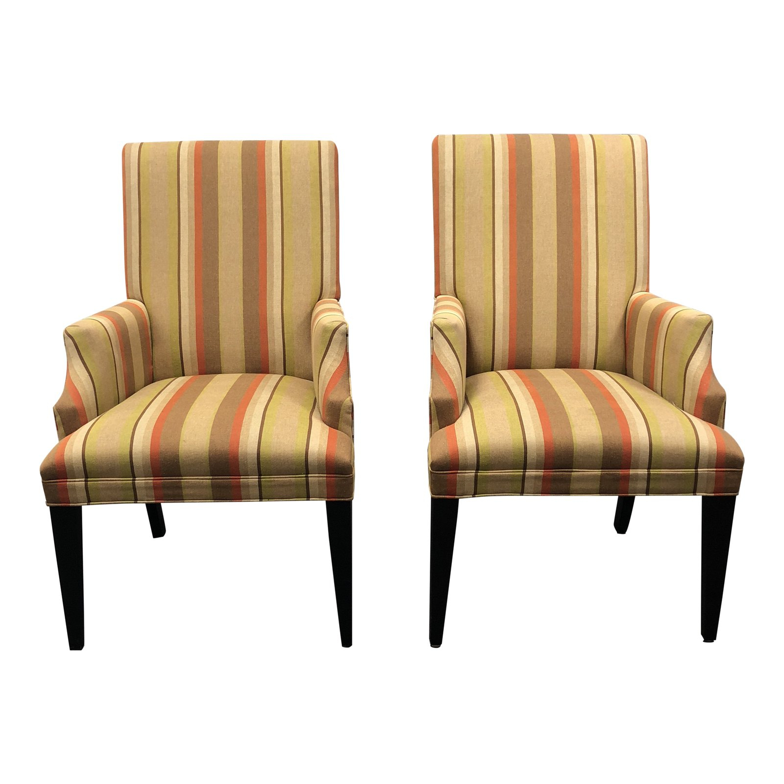 Mitchell Gold + Bob Williams Striped Fabric Arm Chairs – A Pair Intended For Mitchell Arm Sofa Chairs (View 1 of 25)
