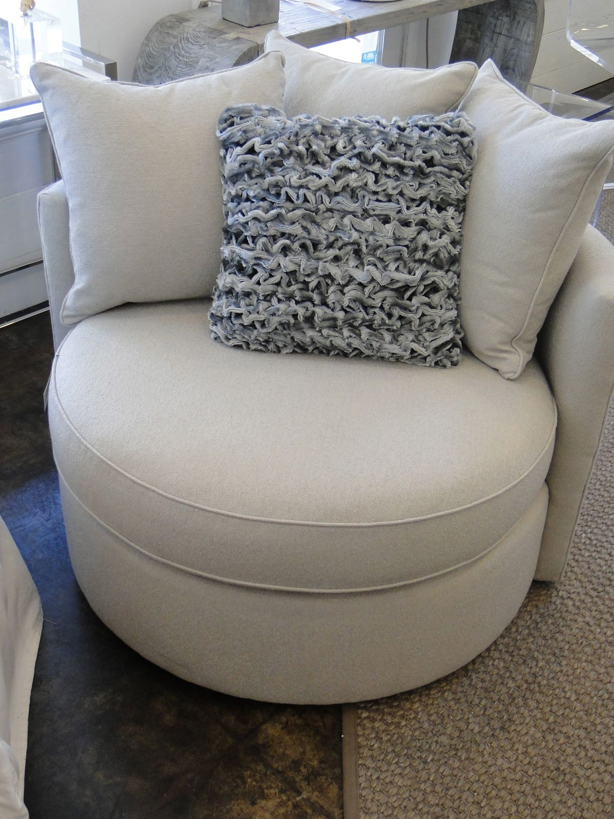 Mitchell Gold Jeanette Round Swivel Chair In Ayers – Dove (360 Inside Mitchell Arm Sofa Chairs (Image 18 of 25)