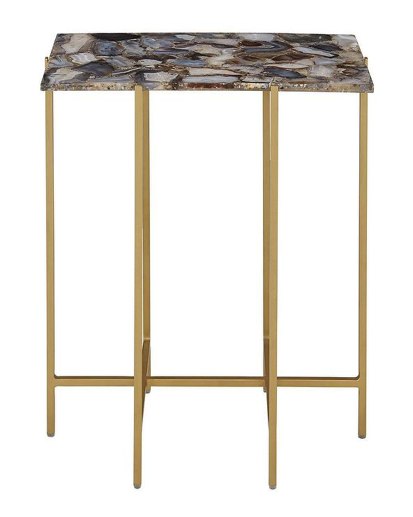 Mix Agate Black Metal Frame Console Table Regarding Trendy Mix Agate Metal Frame Console Tables (Image 15 of 25)