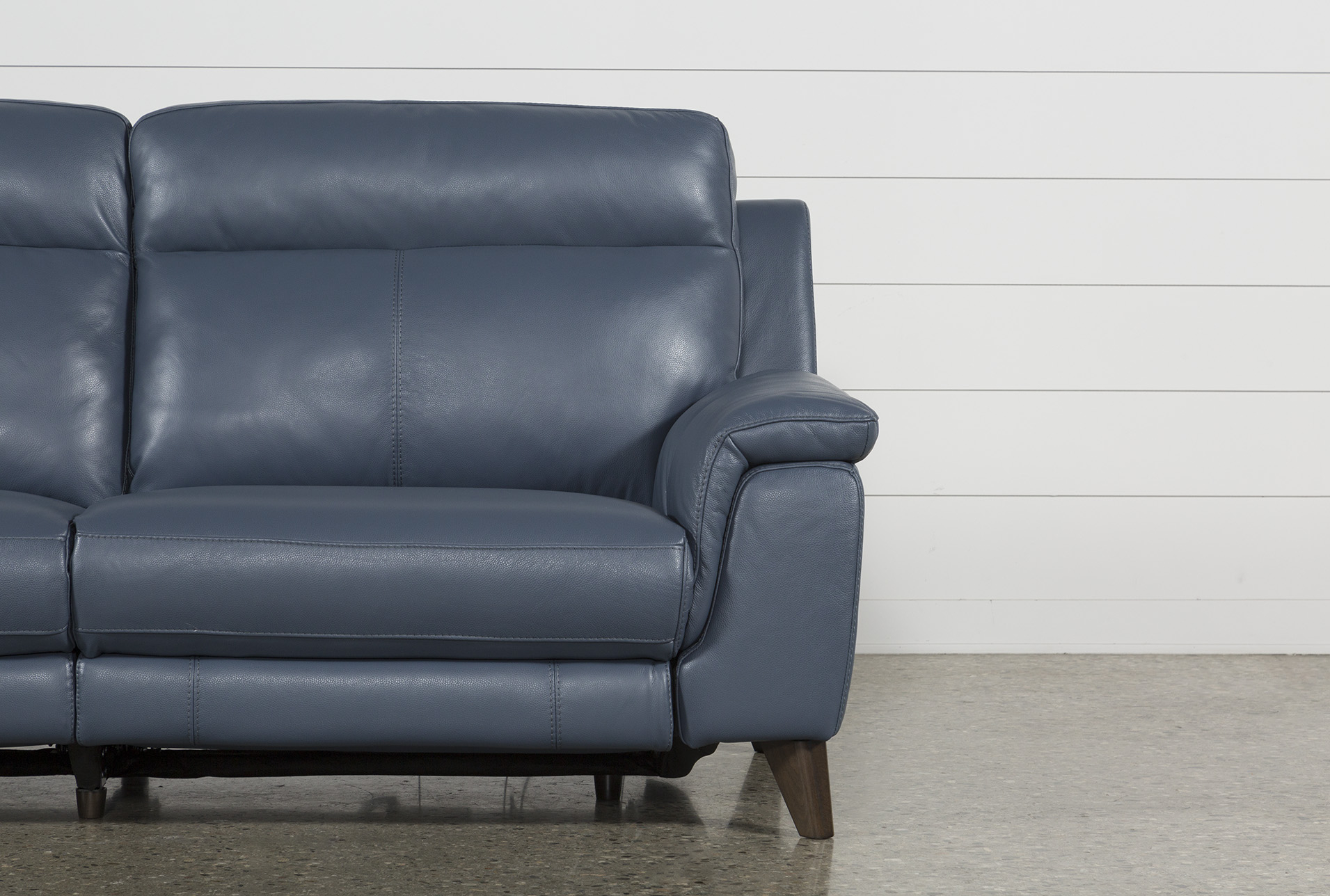 Featured Image of Moana Blue Leather Power Reclining Sofa Chairs With Usb