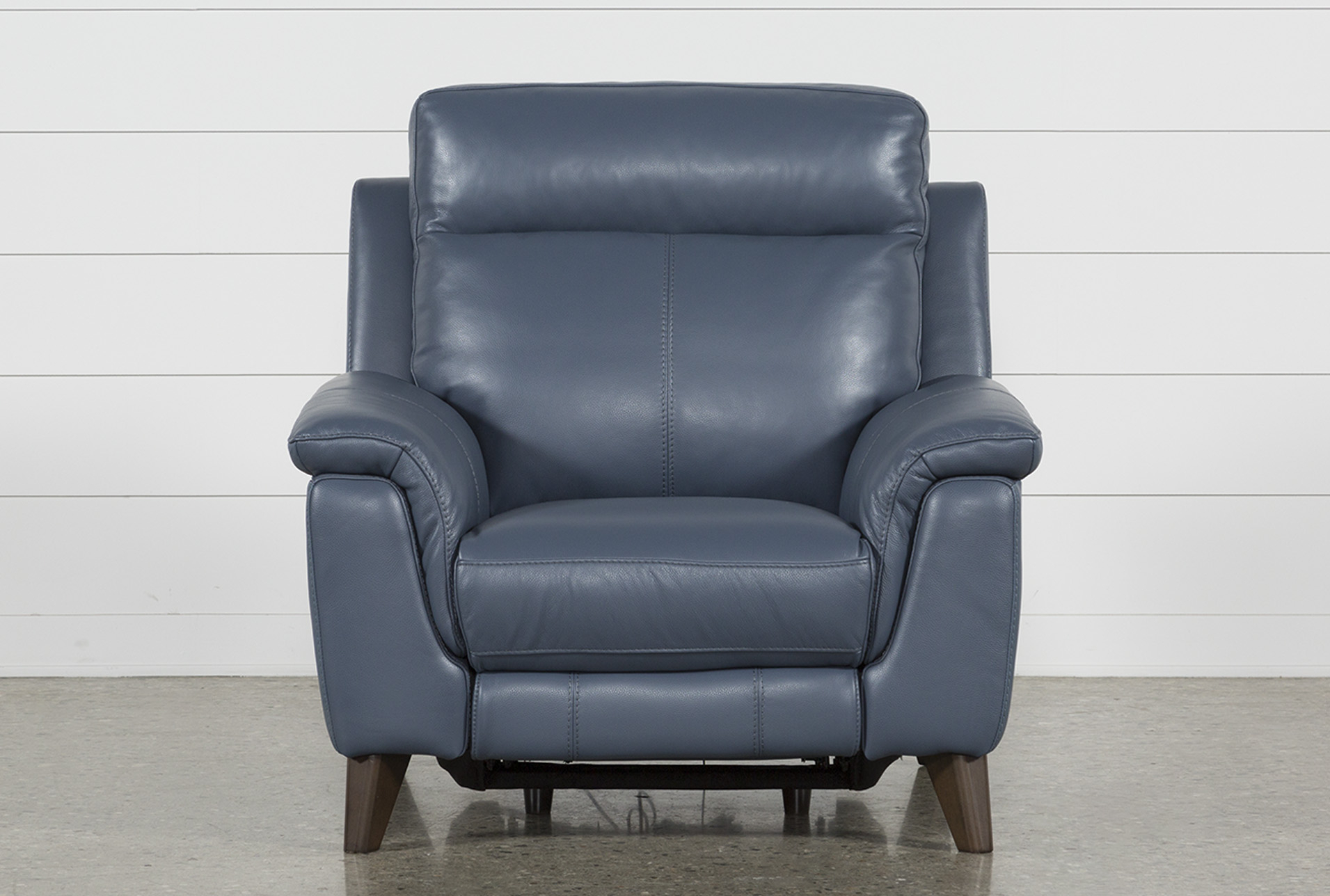 Moana Blue Leather Power Reclining Chair With Usb In 2018 | Products With Regard To Moana Blue Leather Power Reclining Sofa Chairs With Usb (Image 20 of 25)