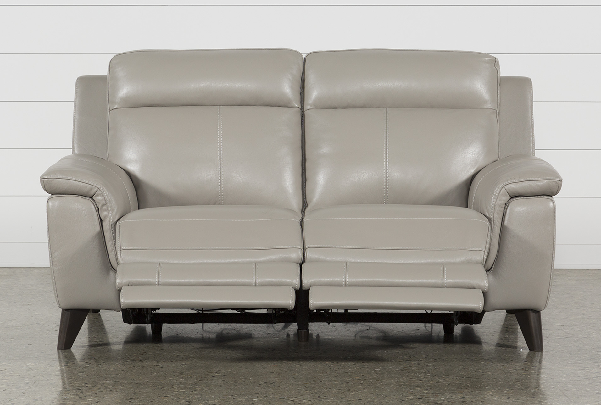 Featured Image of Moana Taupe Leather Power Reclining Sofa Chairs With Usb