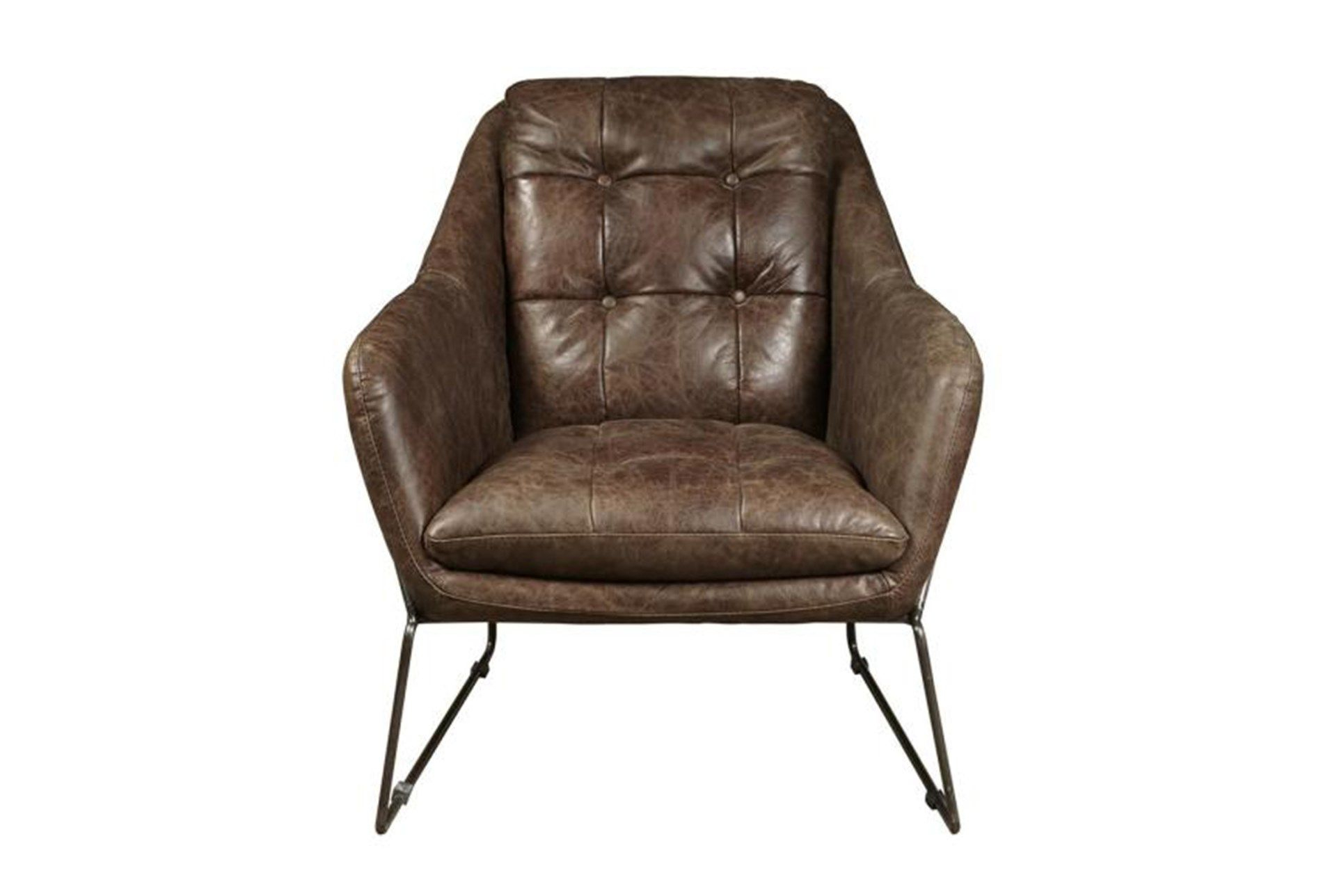 Mocha Leather & Metal Accent Chair, Brown | Metal Accents, Metals For Harbor Grey Swivel Accent Chairs (Image 18 of 25)