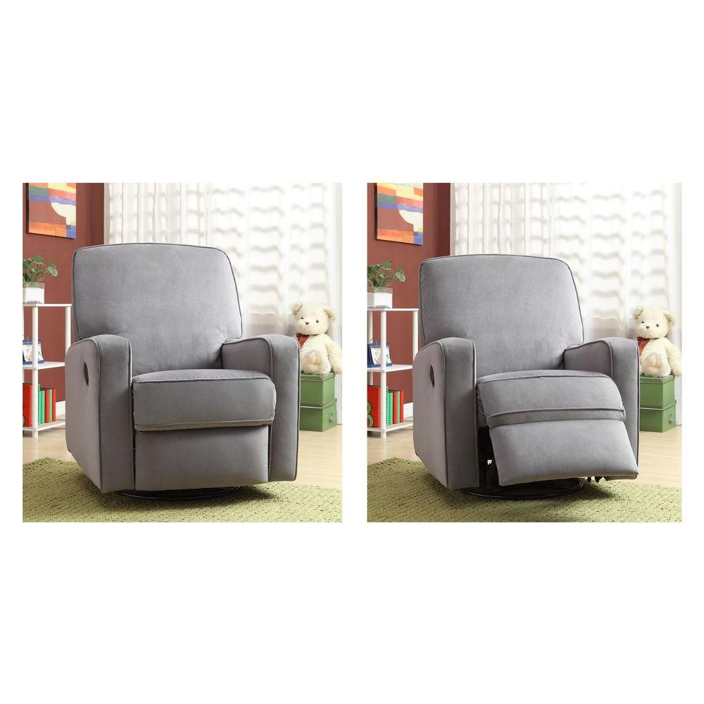 Modern – Gray – Fabric – Chairs – Living Room Furniture – The Home Depot Within Decker Ii Fabric Swivel Rocker Recliners (View 11 of 25)