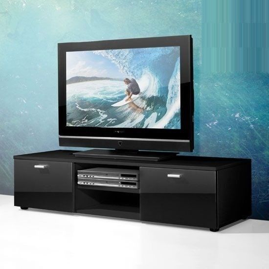 Modern Low Plasma Tv Stand In Black With 2 High Gloss Doors (View 19 of 25)
