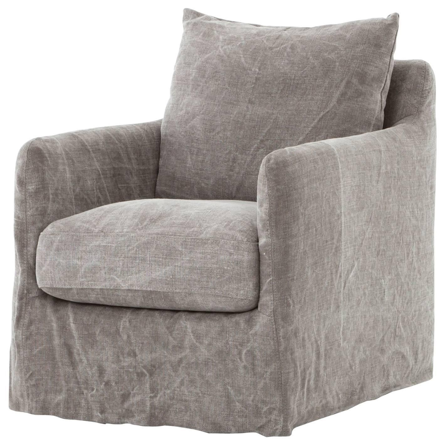 Modern Slipcovered Swivel Chair | Home Decor | Pinterest | Swivel Inside Nichol Swivel Accent Chairs (Image 14 of 25)