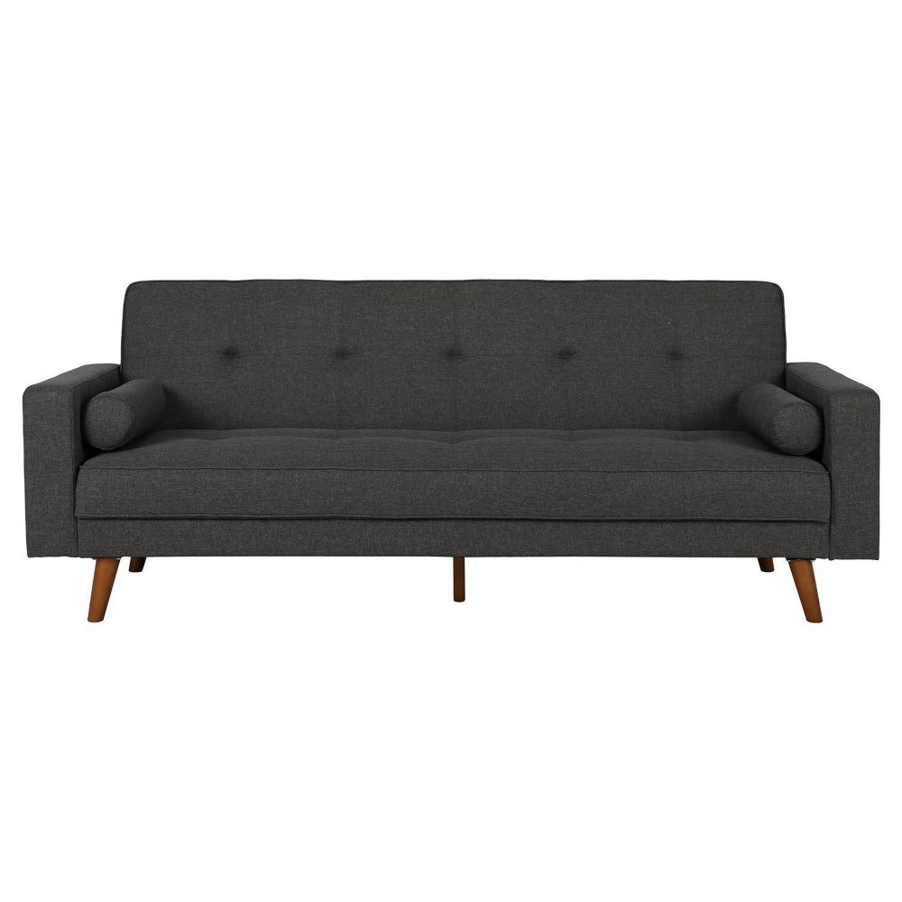 Modern Sunset Hills Futon With Bolster Pillows Gray – Dorel Home Intended For Allie Jade Sofa Chairs (View 8 of 25)