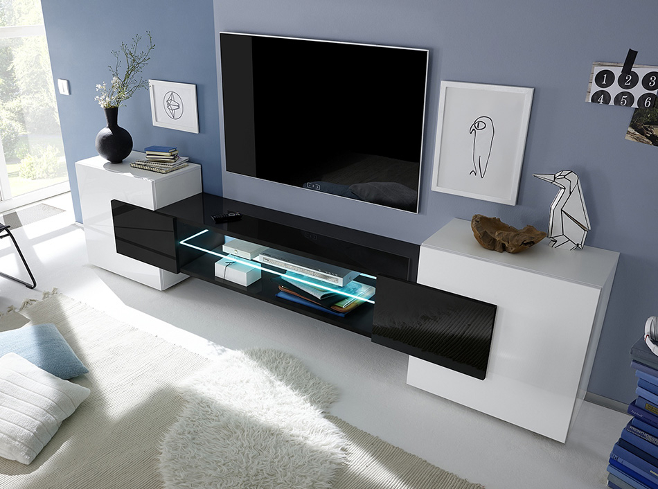 Modern Tv Stand Incastro Low Blacklc Mobili With Regard To Well Liked Modern Low Tv Stands (View 4 of 25)