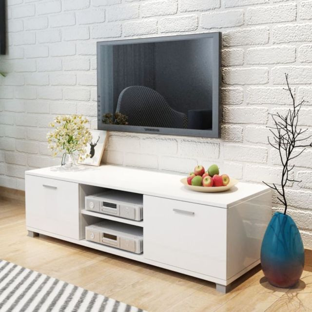 Modern Tv Unit Entertainment Stand Hi Fi Stereo Home Audio Cabinet With Fashionable Tv Bench White Gloss (View 12 of 25)