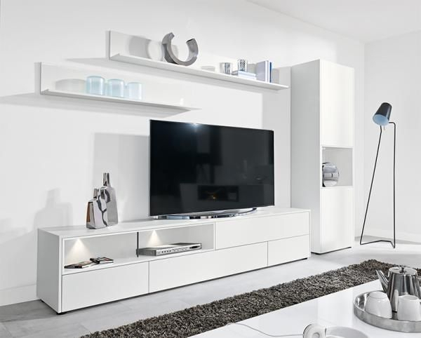 Modern Wall Storage System In Matt White Tv Unit & Tall Cabinet (Image 16 of 25)