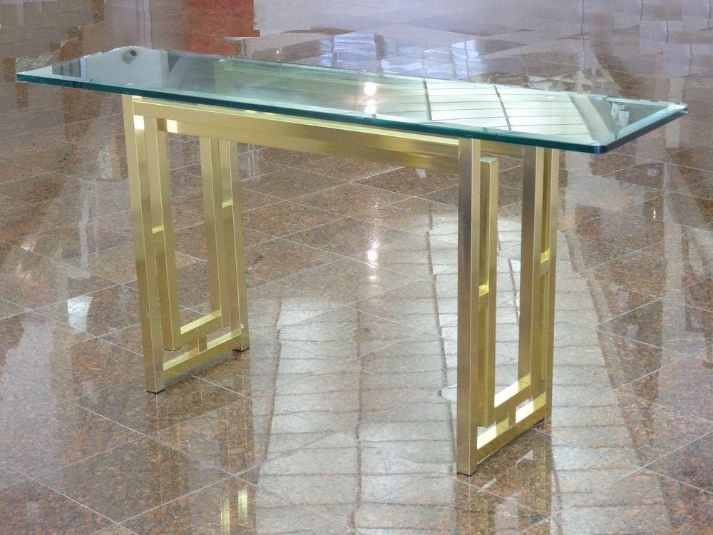 Modernist 70's Style Of Romeo Rega Foyer Console Table W/ Beveled Intended For Widely Used Era Glass Console Tables (Image 14 of 25)