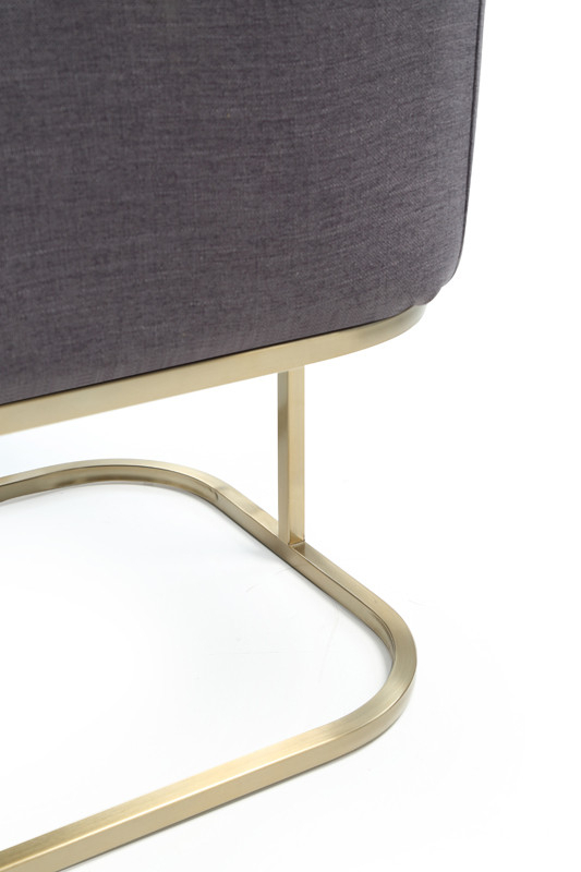 Modrest Yukon Modern Grey Fabric & Antique Brass Dining Chair Regarding Newest Yukon Grey Console Tables (Image 11 of 25)